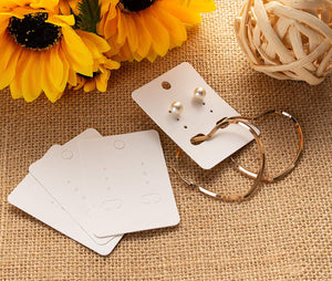 Earring Cards - 200-Pack Hanging Earring Card Holder, Blank Earring Jewelry Display Cards for Ear Studs, Earrings, White, 2 x 2.75 Inches