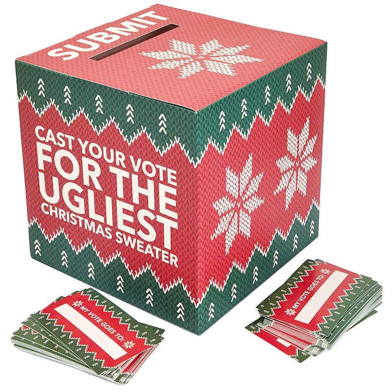 Ugly Sweater Contest Ballot Box and Voting Cards Set, 10 Inches