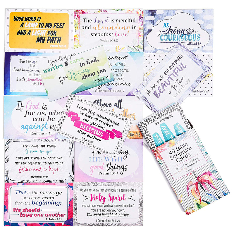 Best Paper Greetings Bible Verse Scripture Cards - 40-Design Inspirational Christian Prayer Message Cards, 3.3 x 2.1 Inches