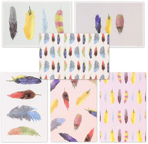 Best Paper Greetings 48-Pack All Occasion Watercolor Feather Blank Stationary Cards Bulk Box Set with Envelopes, 4 x 6 inches
