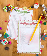 Christmas Word Scramble Game Card- 50-Pack Christmas Party Game Cards with 2 Answer Sheets, Holiday Party Game Set, Perfect Party Game for Kids Xmas Parties, 5 x 7 Inches