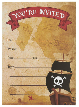 Pirate Invitation Cards - 24 Fill-in Invites with Envelopes for Kids Birthday Bash and Theme Party, 5 x 7 inches, Postcard Style