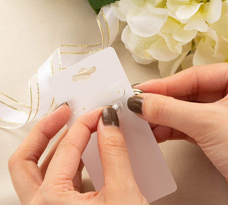 Earring Cards - 200-Pack Earring Card Holder, Paper Hanging Jewelry Display Cards for Earrings, Ear Studs, White, 2 x 4 Inches