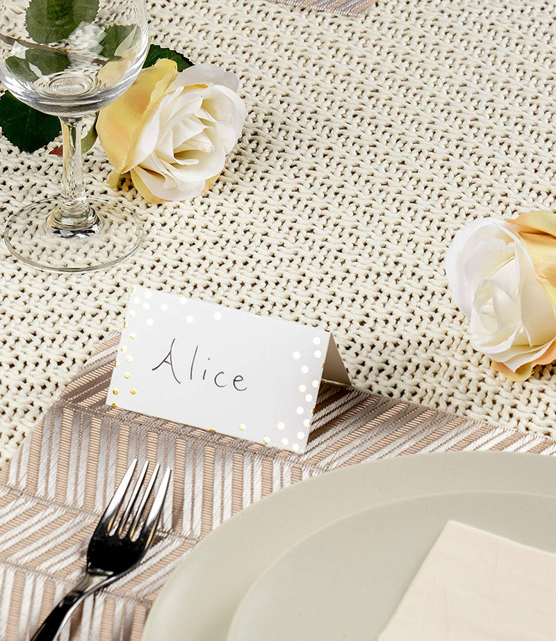 Best Paper Greetings Small Place Cards, Table Name Tents, 100 Pack (Gold Foil Polka Dots)