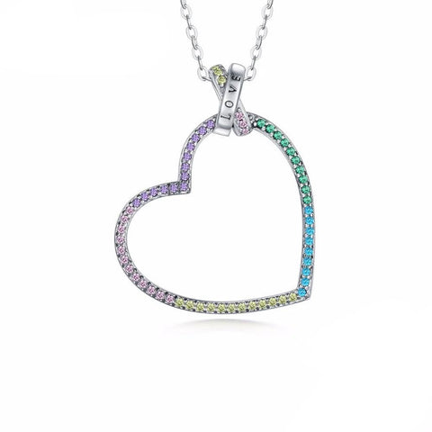 Collier Coeur Gemmes Multicolores