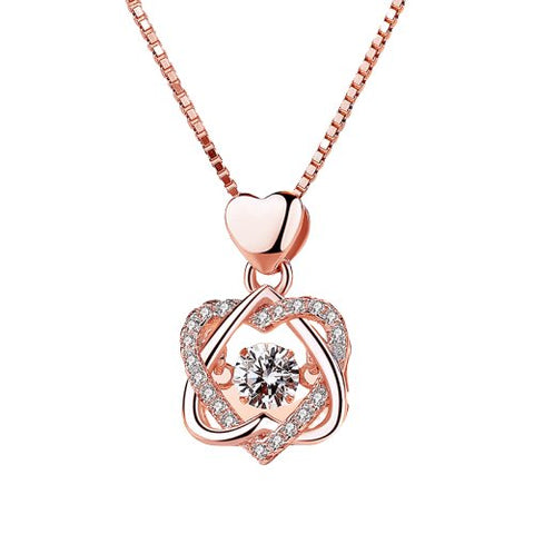 Collier Double Coeur Or Rose