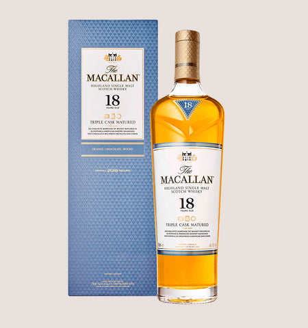 Botella de whisky Macallan Triple Cask 18 años de 700ml
