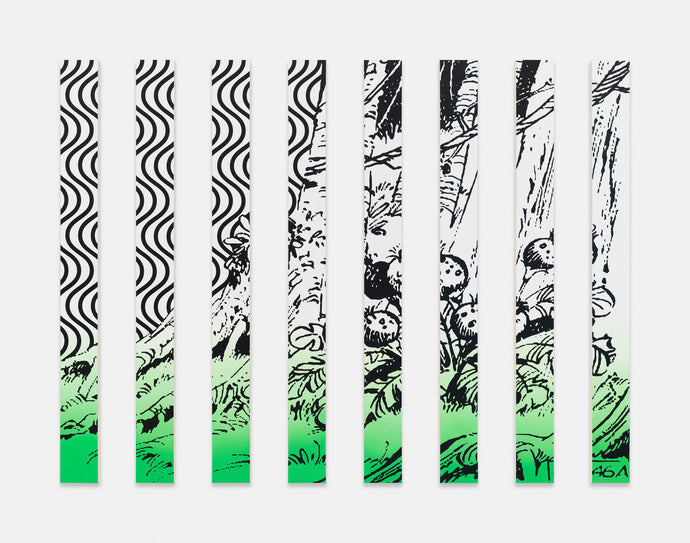 Claudia Comte | »They're at the End of the World (curve/jungle cocktail painting in green) «