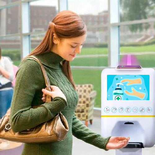 "Hand Sanitizer Dispenser with UV Disinfectant & 10"" Screen"