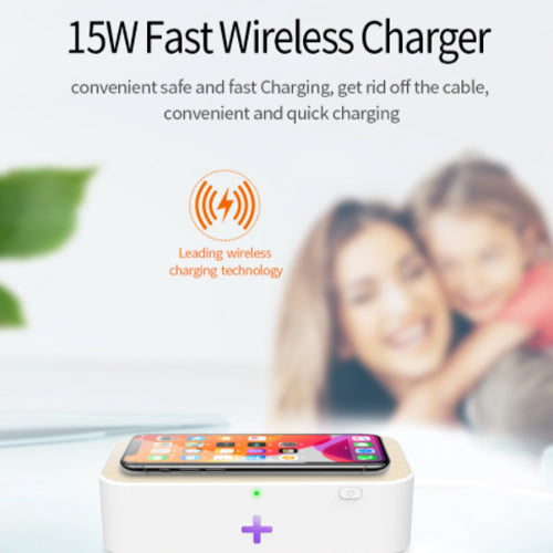 UV Disinfectant Box With Wireless Charging - Kills 99% of Germs, Bacteria & Viruses