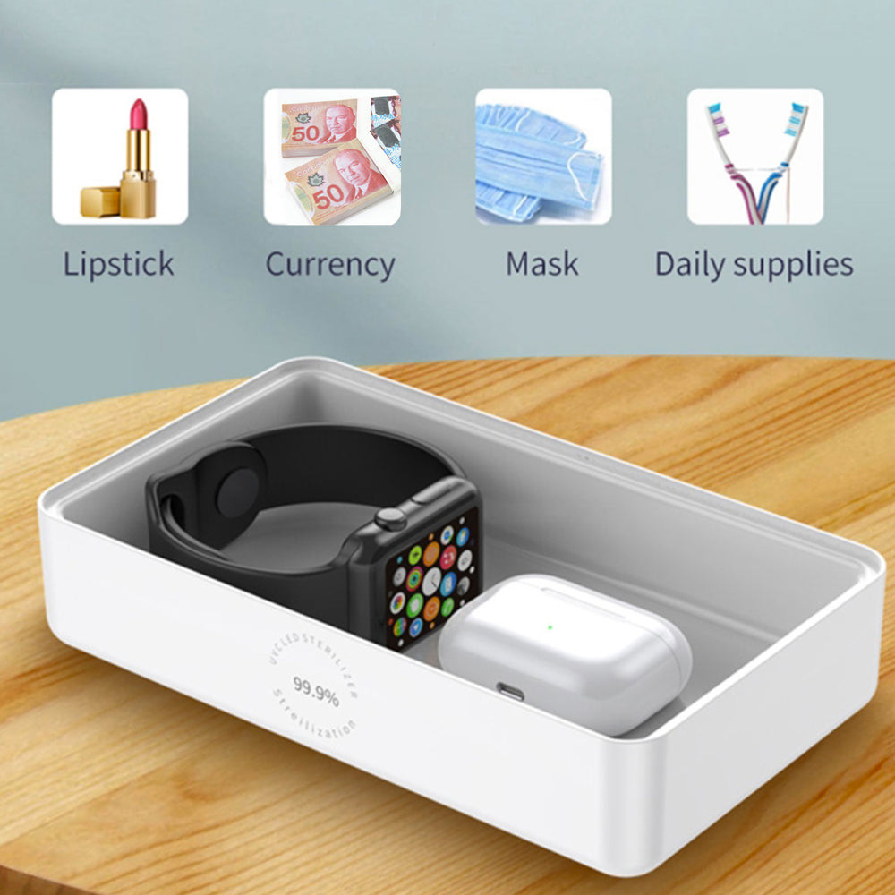 UV Disinfectant Box w/ Wireless Charging Lid - Kills 99% of Germs, Bacteria & Viruses