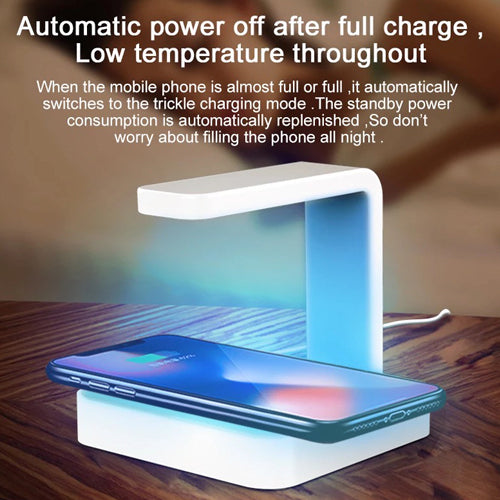 UV Disinfectant Lamp w/ Wireless Charging - Kills 99% of Germs, Bacteria & Viruses