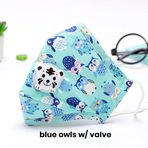 Washable Cotton Face Masks for Kids with Valve