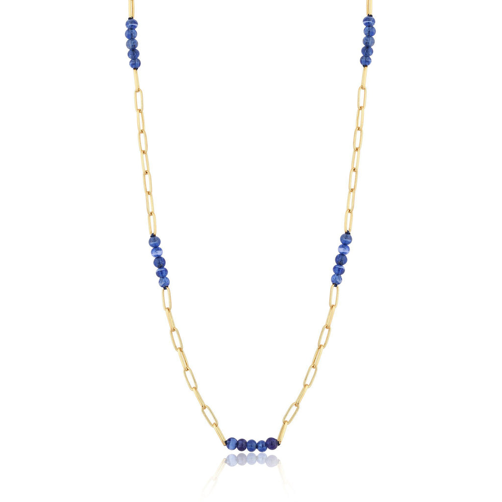 Large Link with Blue Murano Glass Bead Gold Necklace