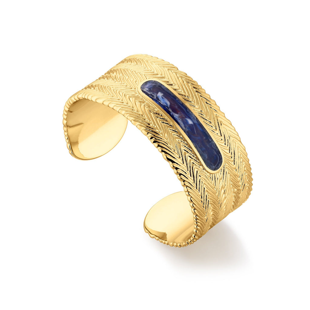 Textured Cuff Bracelet with Blue Enamel Inset