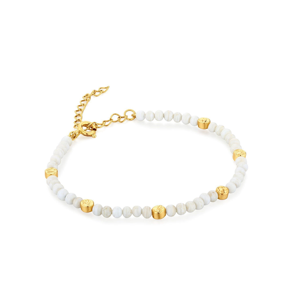 White Murano Glass & Gold Accent Beaded Bracelet