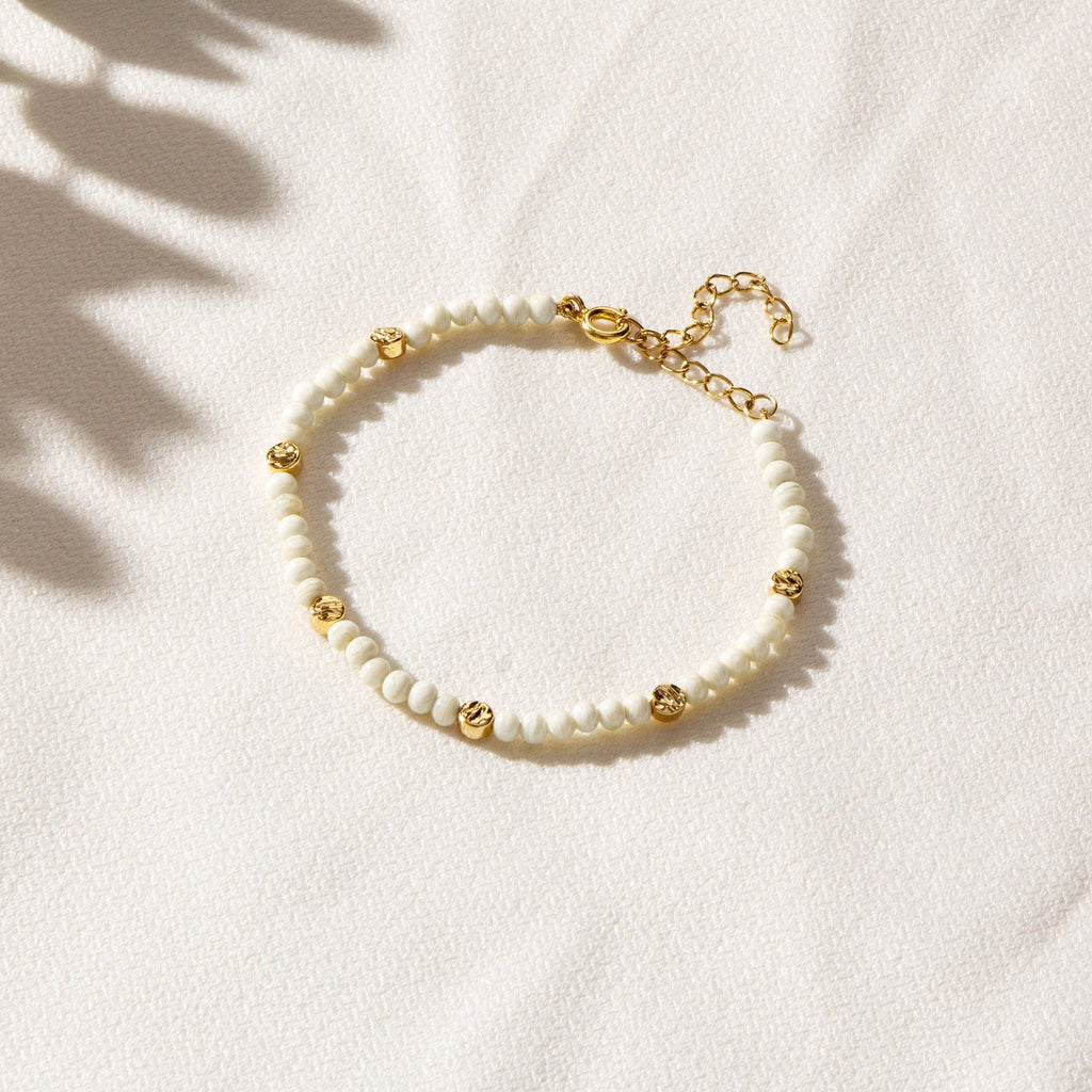 NAIAD | White Murano Glass Beaded Bracelet