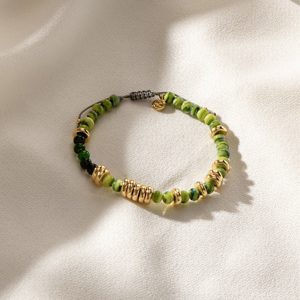 APHOTIC | Green Murano Glass Beaded Bracelet