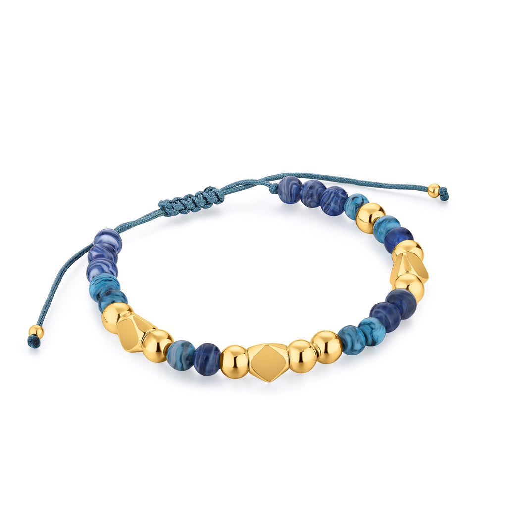 Blue Murano Glass & Gold Bead Cord Gold Bracelet