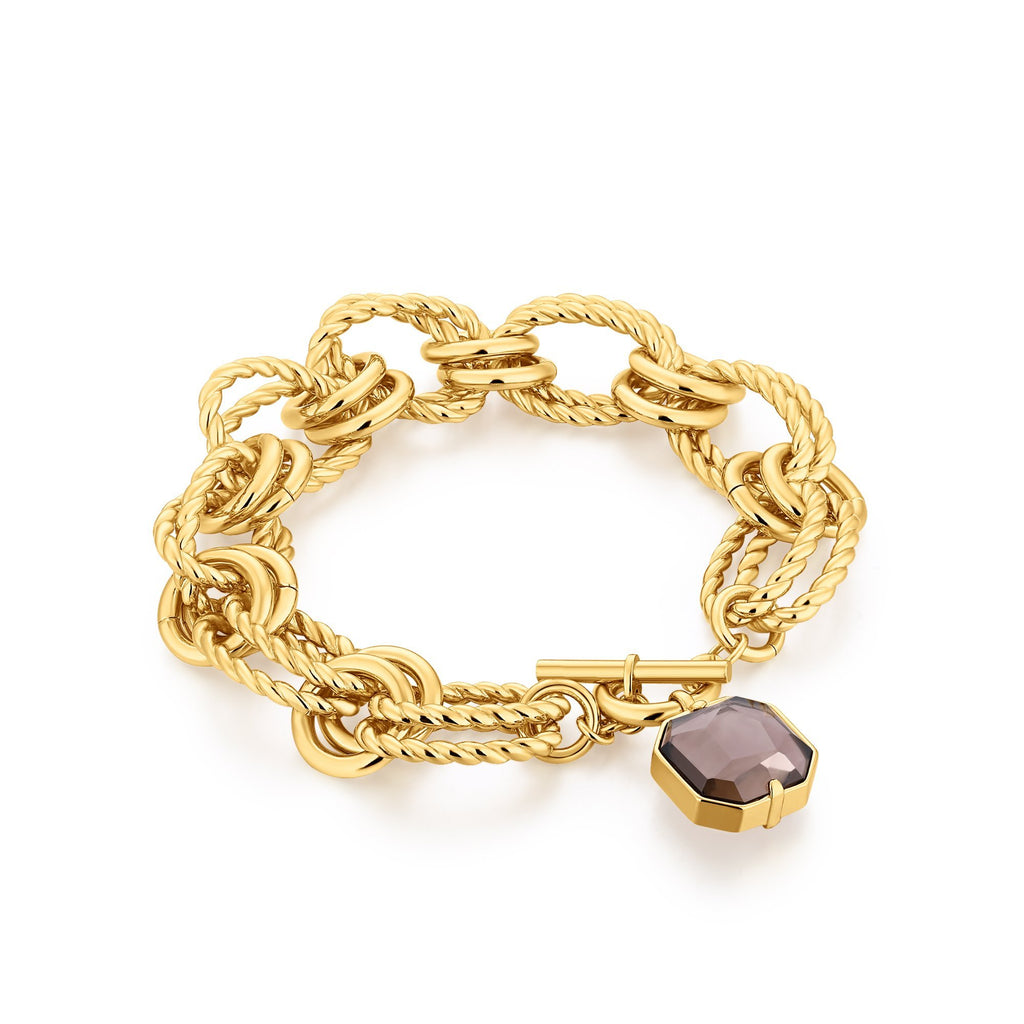 Chain Bracelet with Quartz Pendant