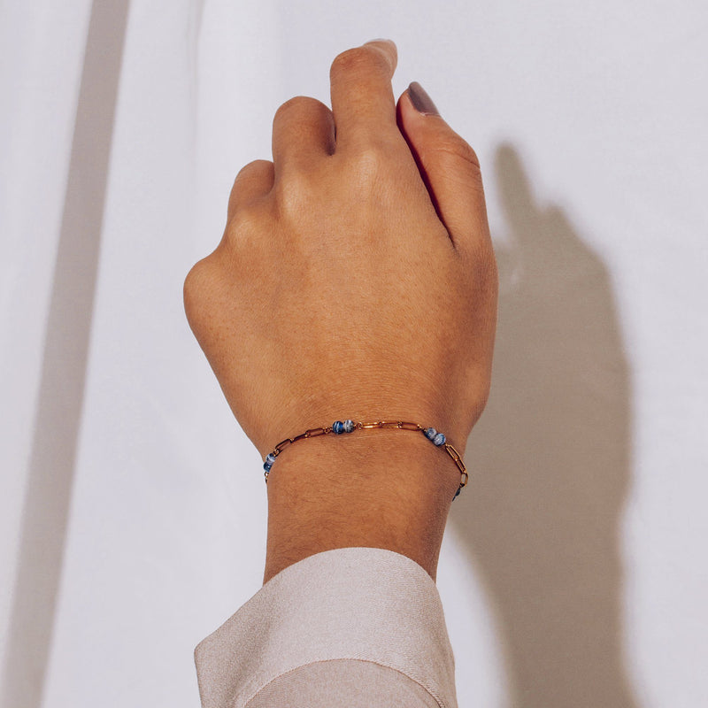 ESPRIT | Blue Murano Bead and Link Chain Bracelet