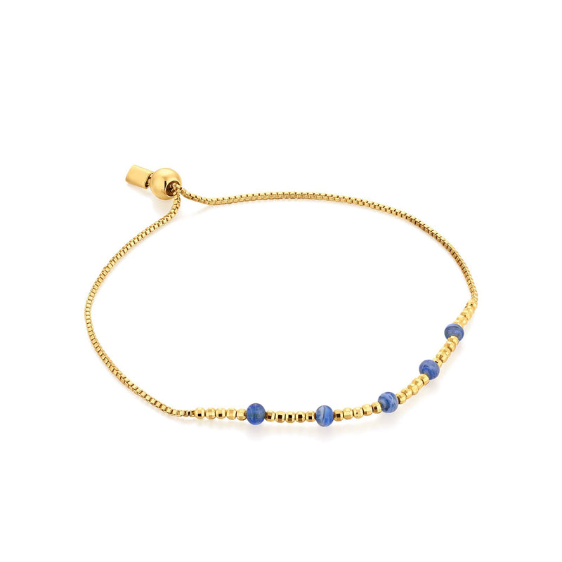 Box Chain Bracelet with Murano Glass & Gold Beads Bracelet