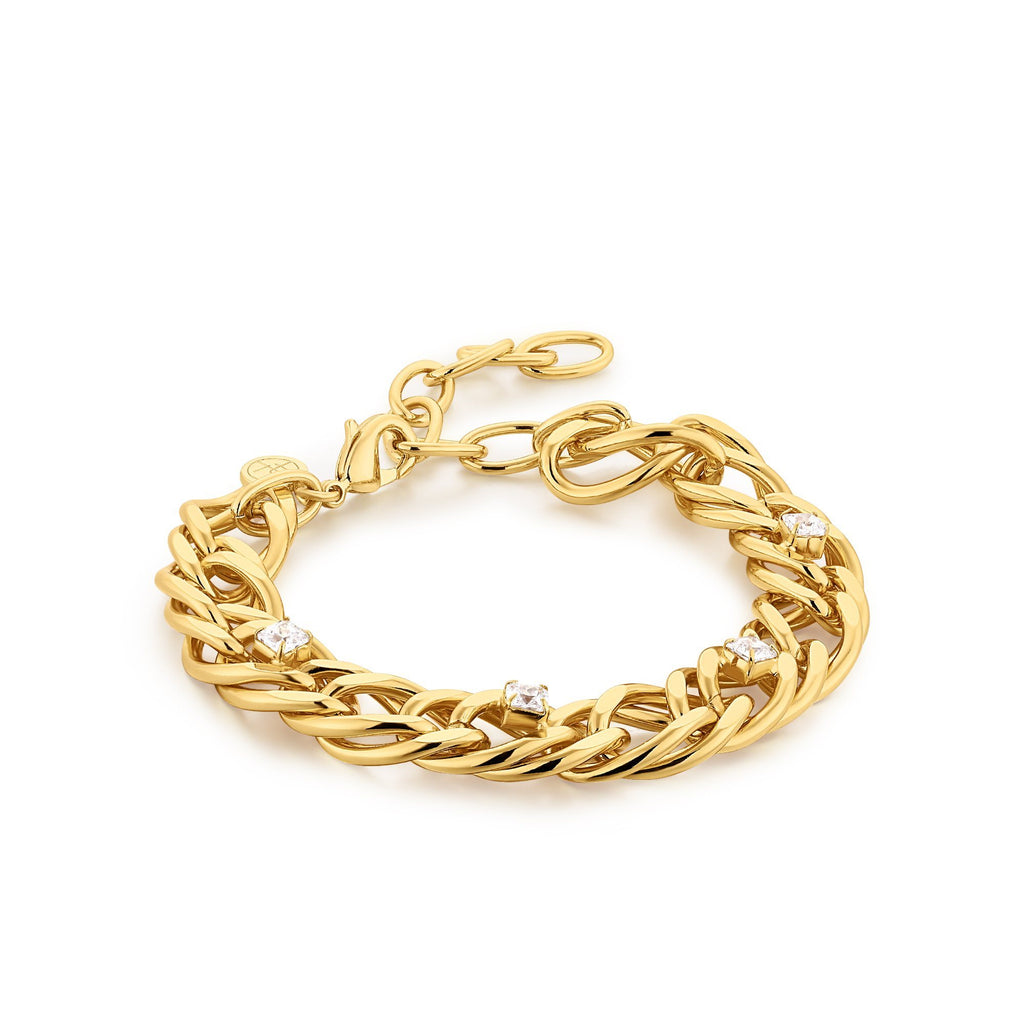 Zircon Studded Chain Gold Bracelet