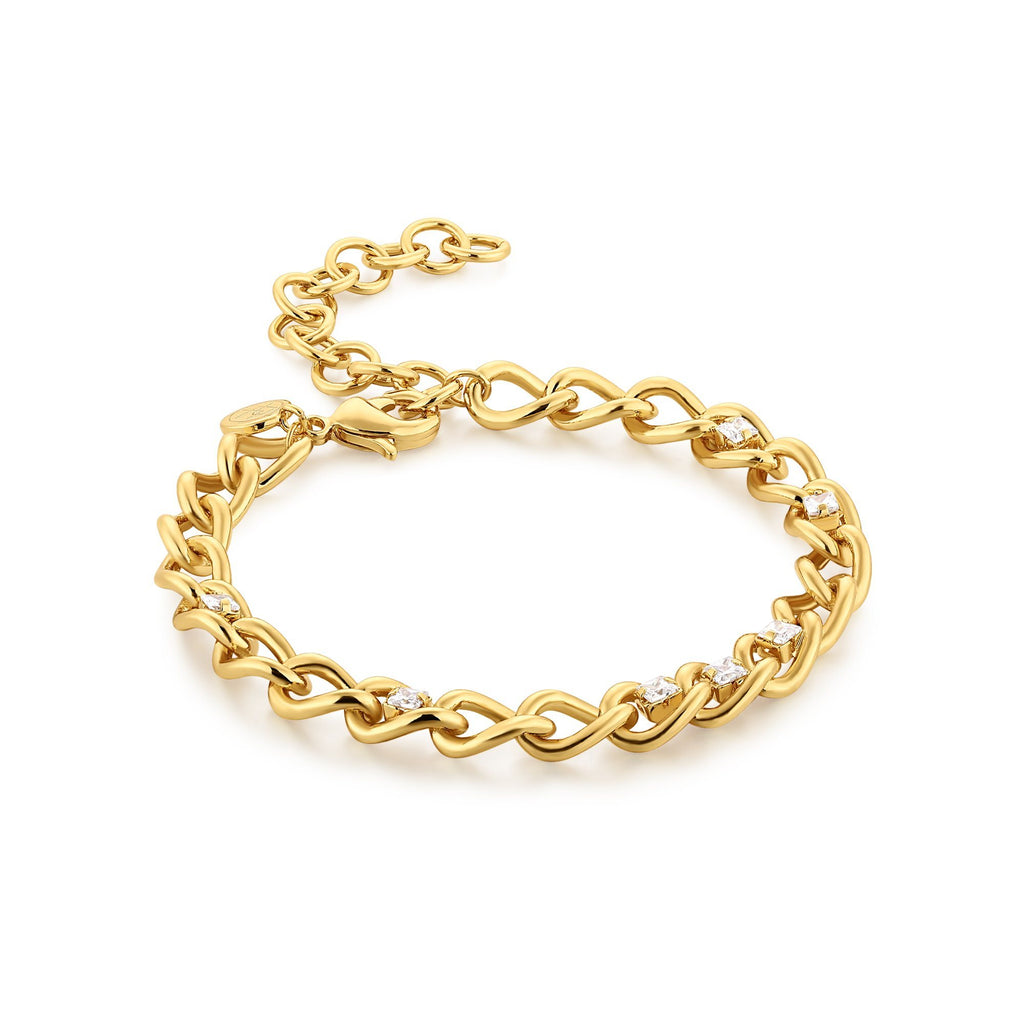 Gold Zircon Chain Bracelet with Extender