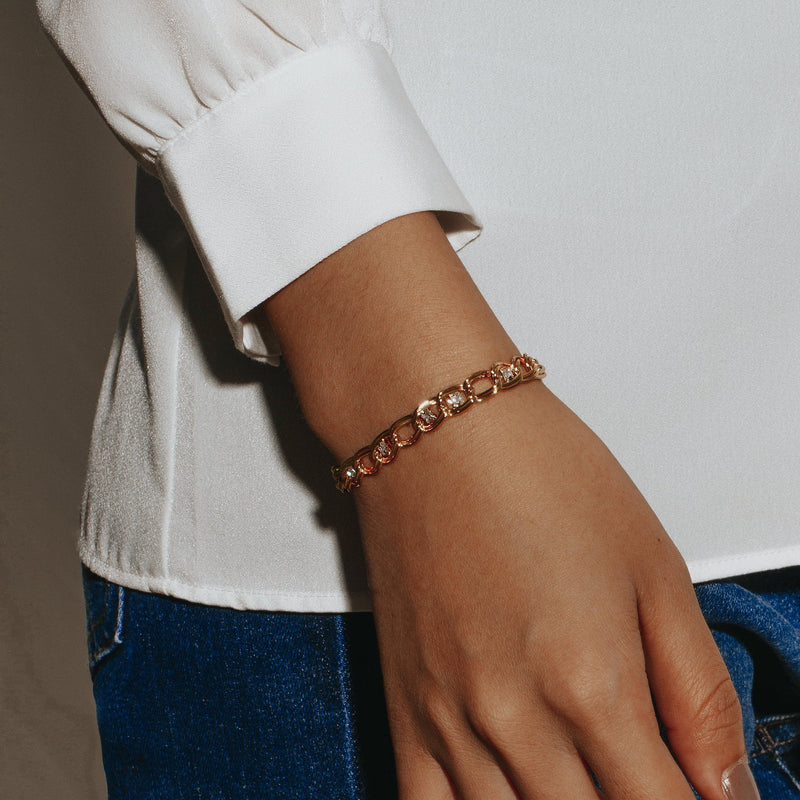 WILLOW | Zircon Studded Link Chain Bracelet