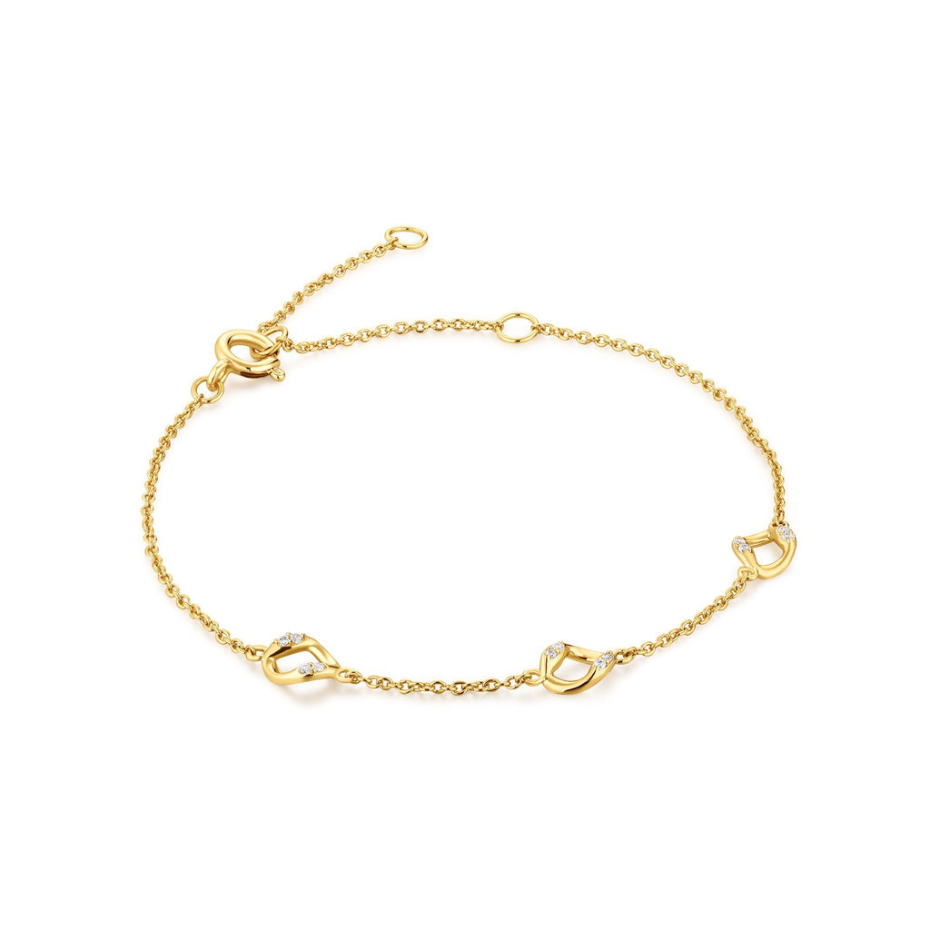 Zircon-Encrusted Circles Gold Bracelet
