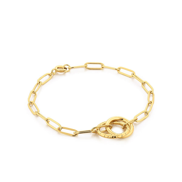 Link Chain Bracelet with Dual Ring Center
