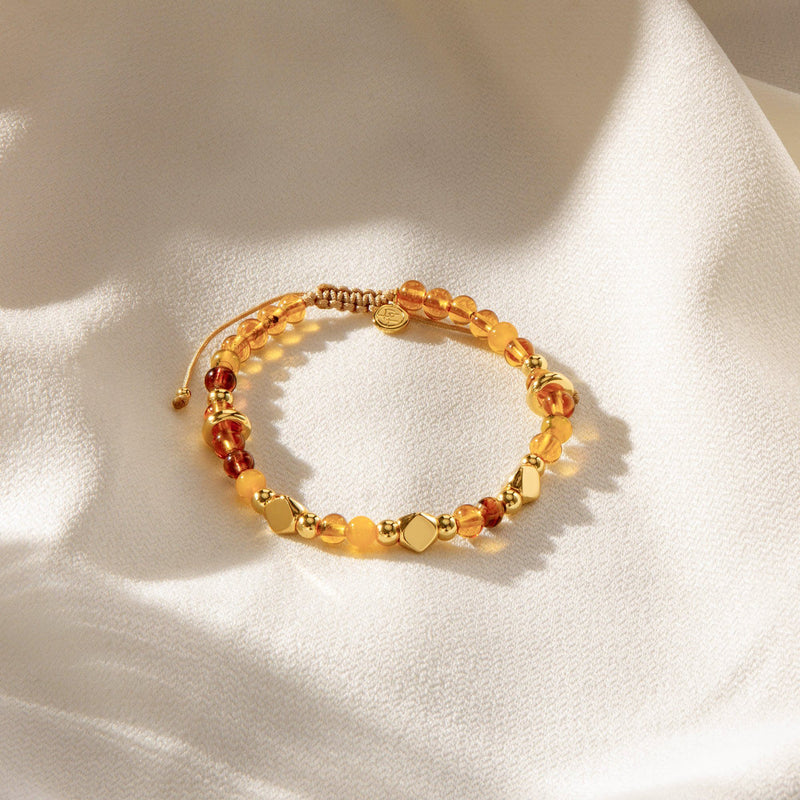ZION | Honey Gold Murano Glass Beaded Bracelet