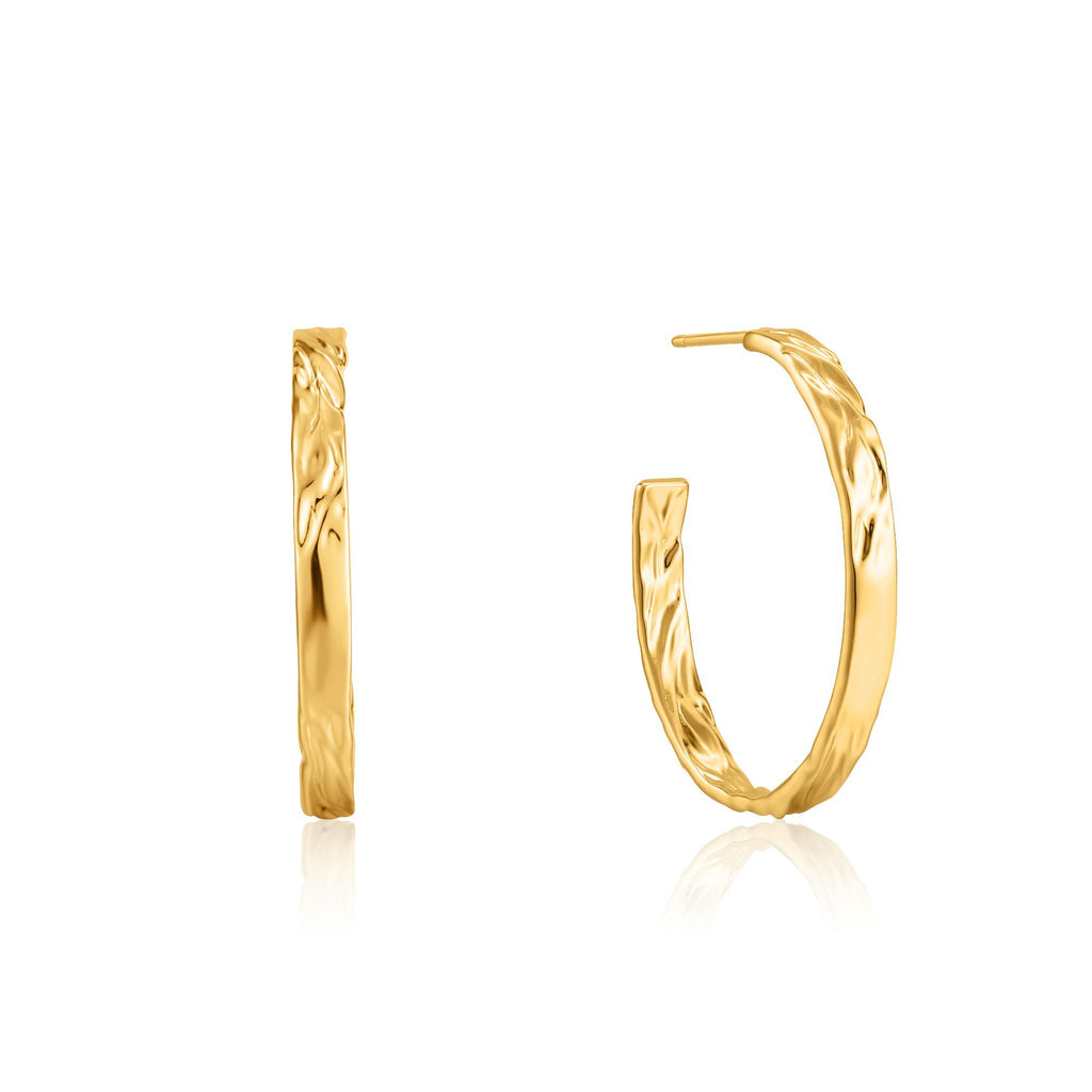 Open End Textured Hoop Gold Earrings