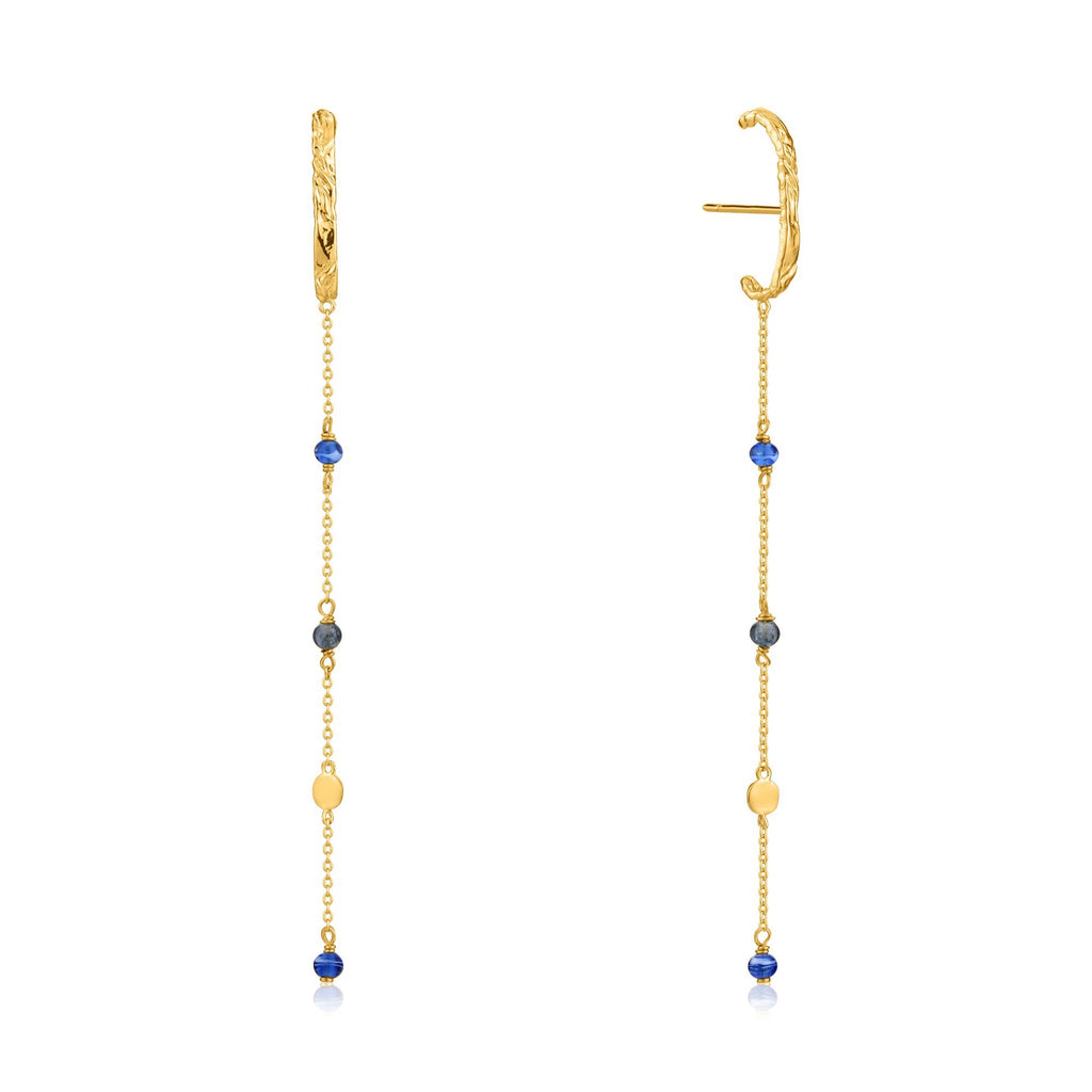 Murano Glass & Gold Bead Dangle Post Gold Earrings
