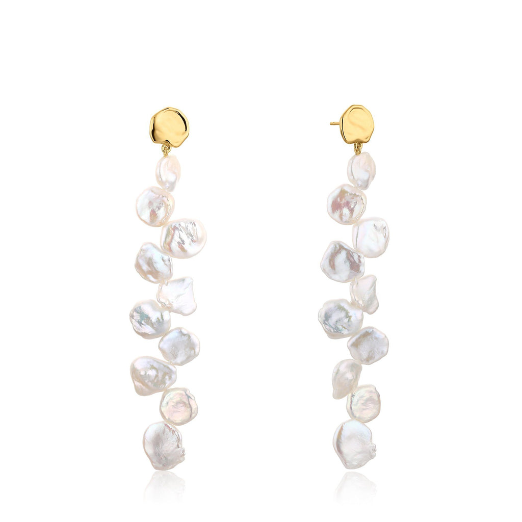 Pearl Embellished Post Back Dangle Gold Earrings