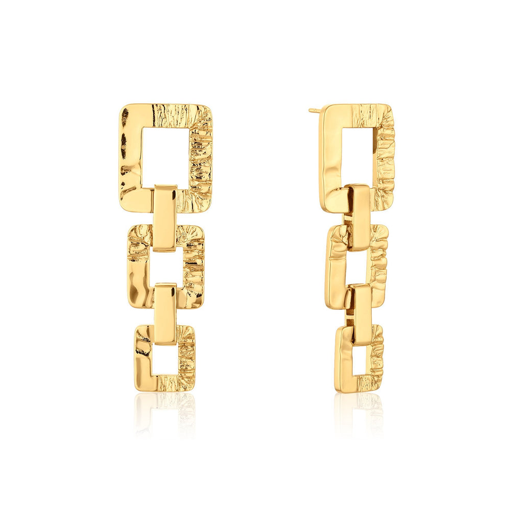 Square Link Gold Chain Earrings