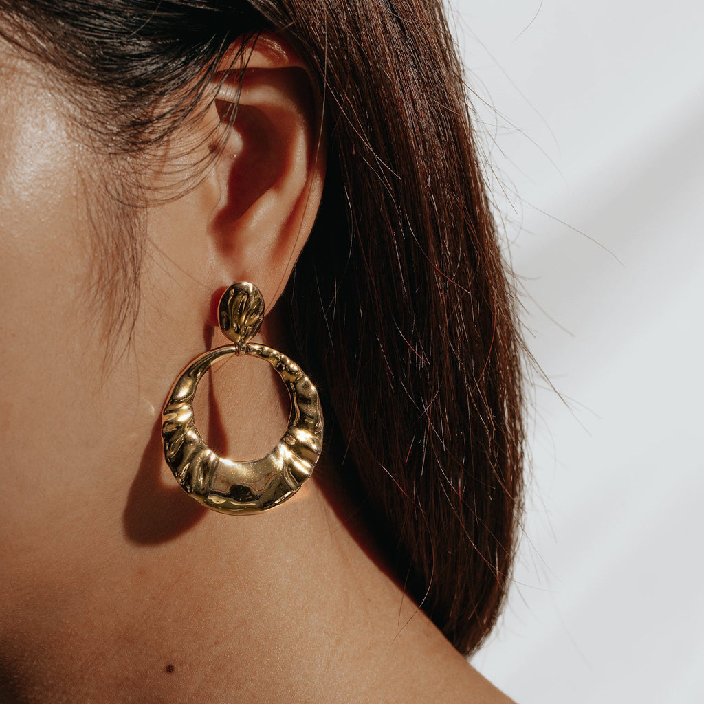 PREEN | Brass Textured Hoop Earrings