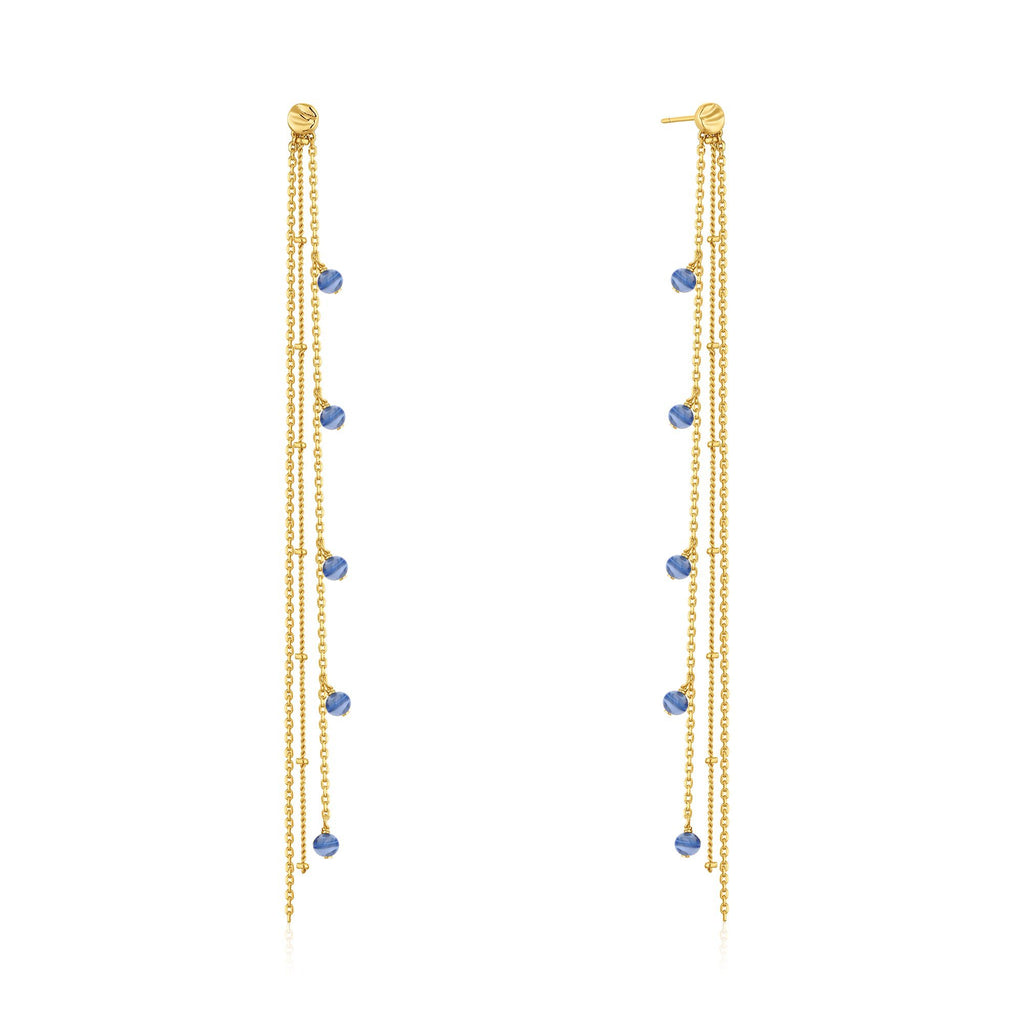 Blue Murano Glass 3-Chain Drop Gold Earrings