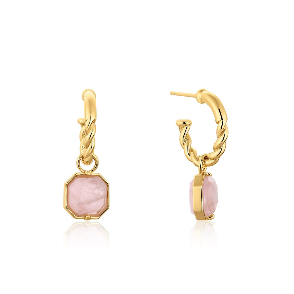 Rope Hoop Earrings with Rose Quartz Gold Pendants