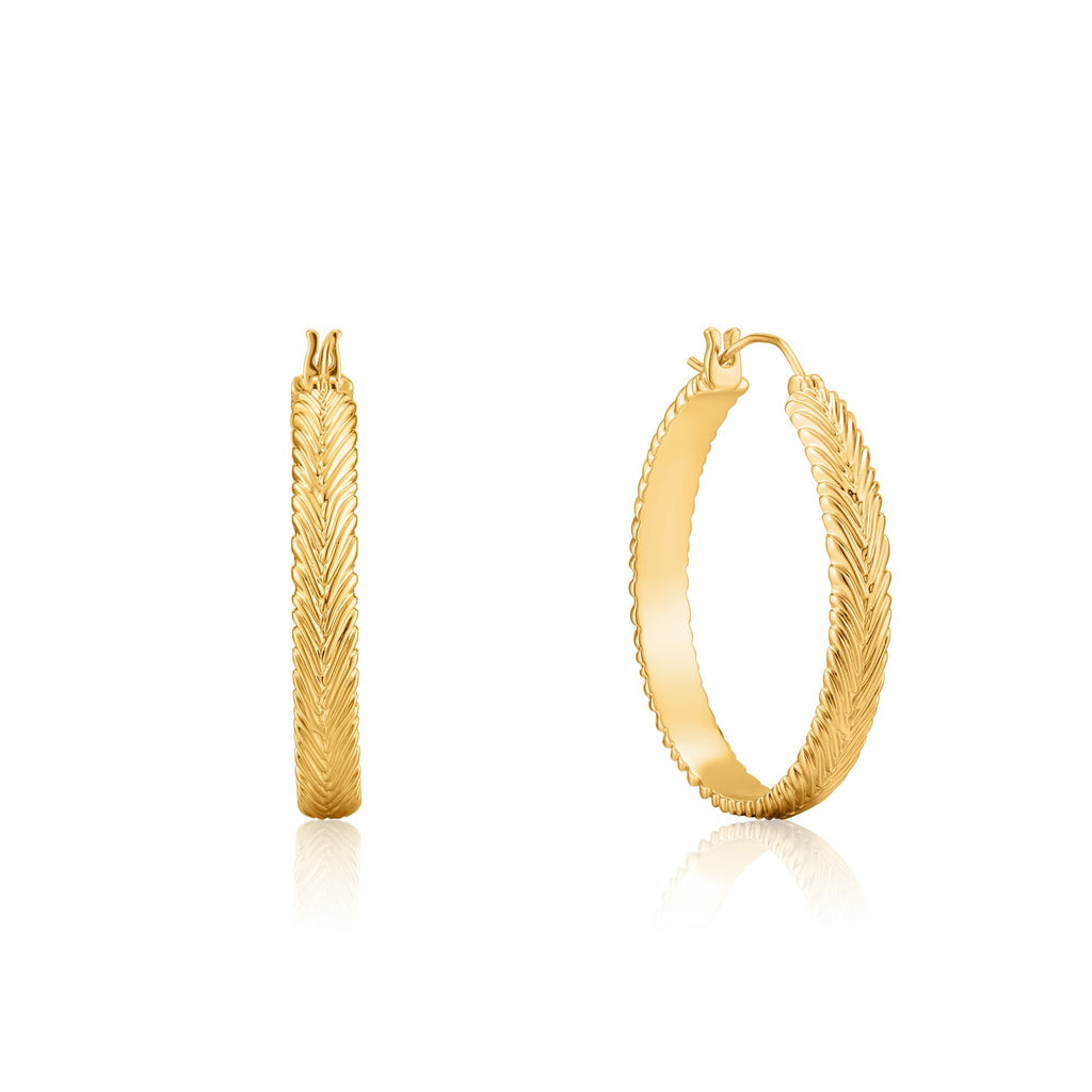 Textured Closed Hoop Gold Earrings