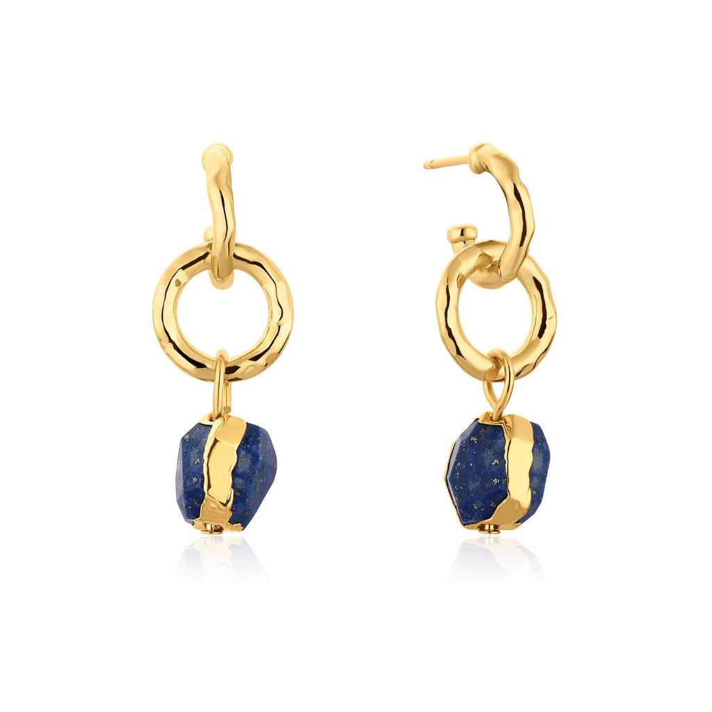 Double Hoop with Dangling Lapis Gold Earrings