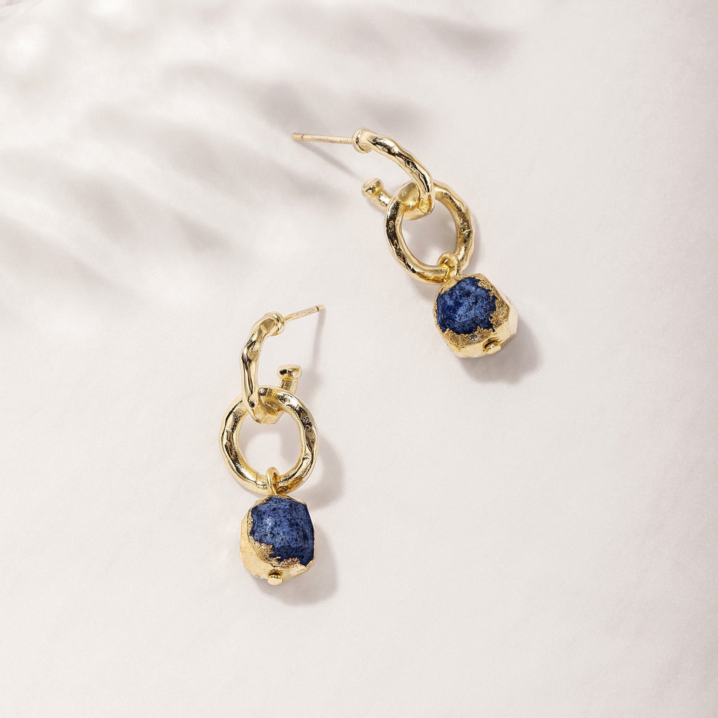 MOXIE | Double Hoop Earrings with Dangling Lapis Charms