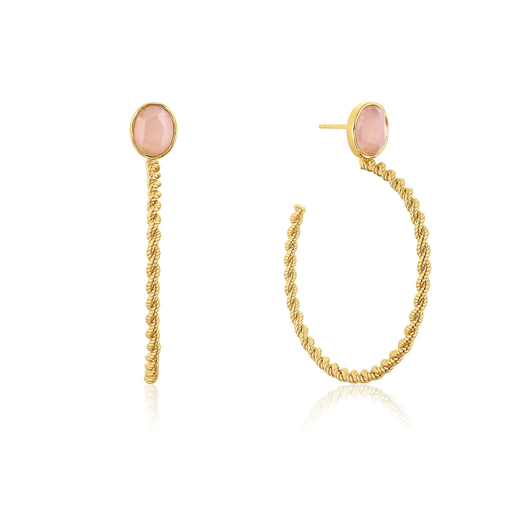 Rope Open Hoops with Rose Quartz Gold Earrings