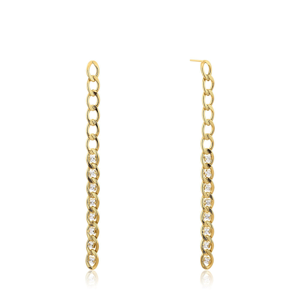 Long Zircon-Encrusted Link Dangle Earrings
