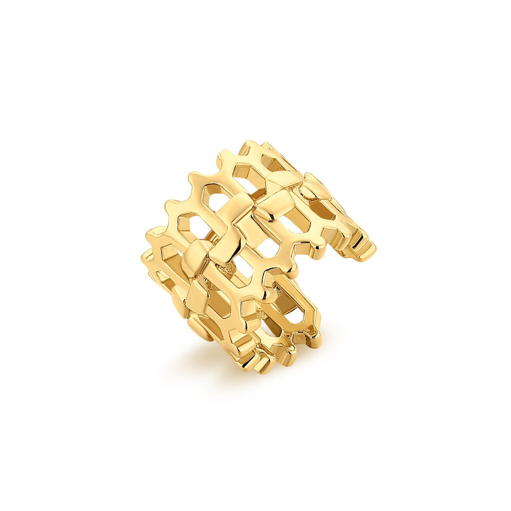 extured, Open Weave Gold Ear Gold Cuff