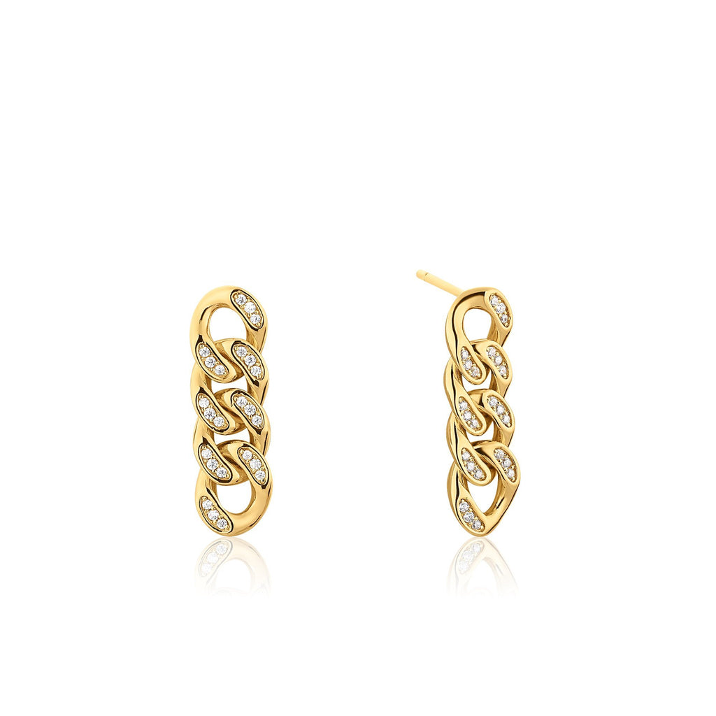 Link & Zircon Dangling Gold Earrings