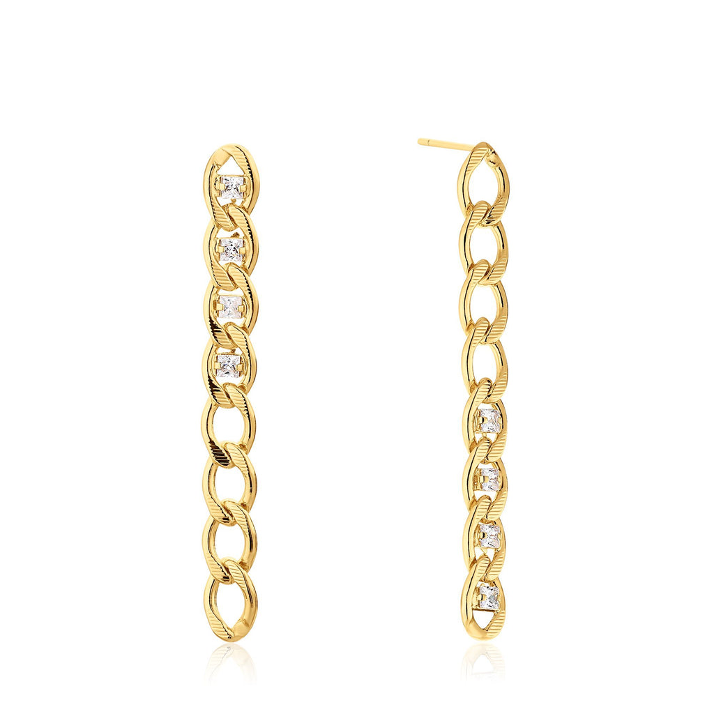 Long Dangle Zircon-Studded Link Earrings with Post Back