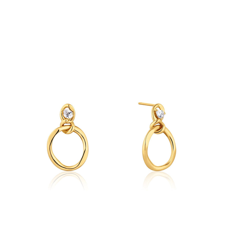 Gold Softly Rounded Hoop Earrings with Zircon Stud