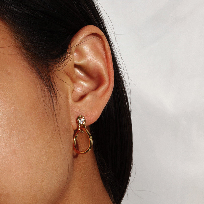 CHICHI | Front-Facing Hoop Earrings with Zircon Studded Posts