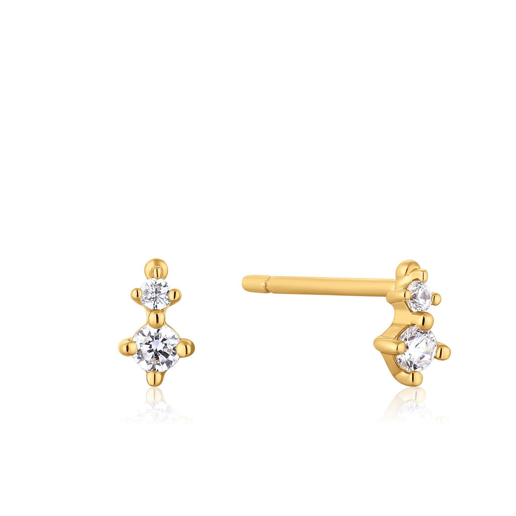 Double Zircon Stud Gold Earrings